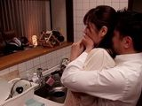 Wife Chisato Shoda Gets Fucked In Kitchen While Her Drunk Hubby Sleeps In Livingroom