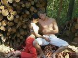Woodcutter's Teen Daughter Fuck Season Boy Among Logs In Woods