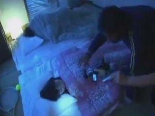 Sleeping Japanese Teen Gets GangFucked By Intruders Next To Deaf Mom