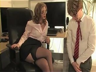 Femdom Milf Boss Abuse Boy at the Office