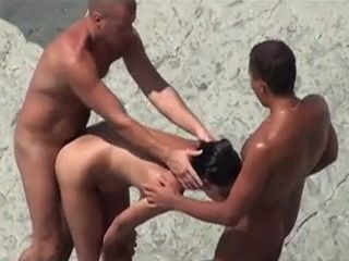 Voyeur Tapes Wife Sharing Threesome On the Public Nudist Beach