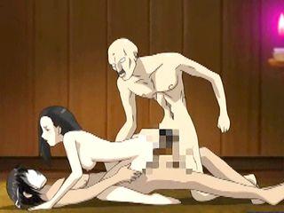 Japanese hentai threesome hard fucked