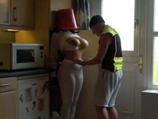 Guy Groped His Hot Ass Busty Wife In Tights And Put a Bucket On Her Head