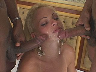 Steaming hot tranny in a interracial threesome
