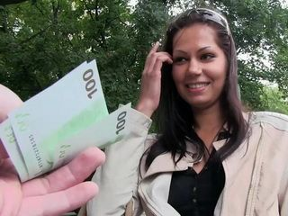 Beautiful Girl Accepts Money From Stranger On The Street To Fuck In Car