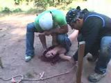 Unfortunate Redhead Girl Kidnapped Tied and Brutally Anal Fucked By Two Guys Outdoor