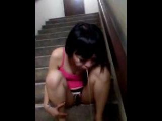 Thai Girl Trowing Up After Mouth Filled With Cum On The Stair In Her Building