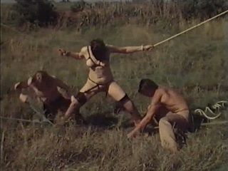Kidnapped Vintage Brunette  Fucked By Two Bums In Open Field