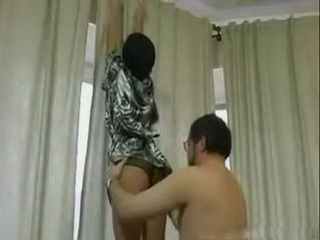 Stepfather Helps His Stepdaughter To Attach The Curtain But In A Little Weird Way