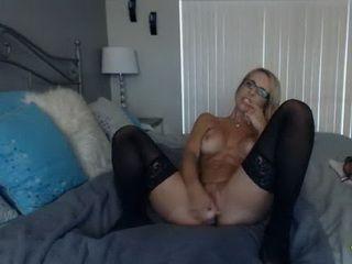 Hot Blonde MILF in Stockings Ride