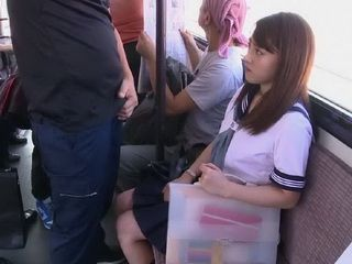 Schoolgirl Could Not Imagine That She Will Be Ashamed In The Bus By Pervert Maniac