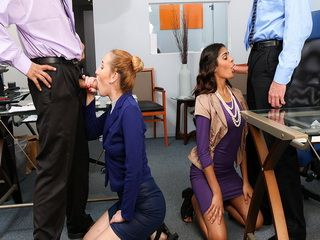 Office Sluts sucking their bosses cock deep throat to relax from work stress