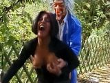 Hot Ebony Girl Gets Hard Fucked In The Park By Some Crazy Masked Guy