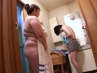 Beautiful BBW Mother Catches Boy Sniffing Her Dirty Lingerie In The Bathroom