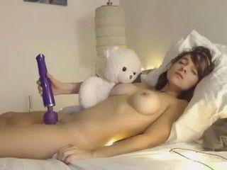 Sweet Girl Hugs Her Teddy Bear And Plays With Dildo