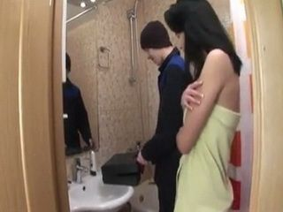 Hot Looking Teen Brunette Seduces Handsome Repairman While Fixing Her Shower