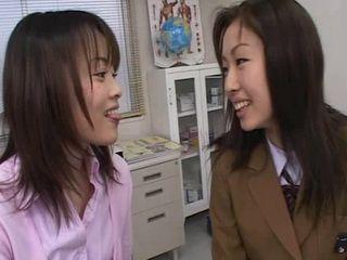 Shy Japanese Girls Kissing