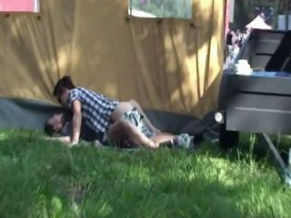 Horny Couple Secretly Taped While Having Sex Outside In Camping