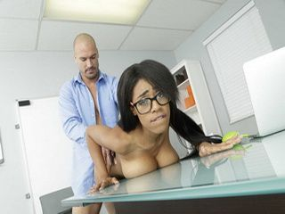 Ebony babe Brittney White fucks her hunk horny boss