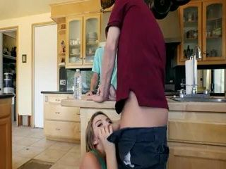 Dude Playing Chess In The Kitchen With Friend While His Naughty Gf Sucking His Dick