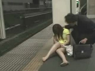 Drugged Japanese Chick Harassed In Subway By Old Pervert