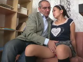 Dirty Old Teacher Promisse To Innocent Asian Teen That She Will Pass Exam Only If He Can Get Her Young Pussy