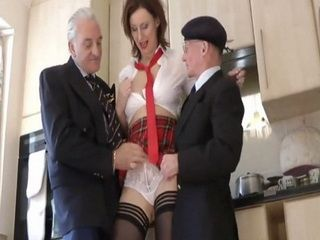 Horny Milf Dressed Like A Schoolgirl Ends Up Fucking With Old Farts She Met On The Beach