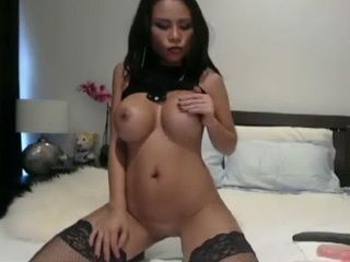 Hot Asian Babe in Stockings Toy Solo