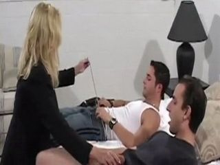 Busty Milf Blonde Gets An Order To Satisfy Two Horny Inspectors In Plain Clothes