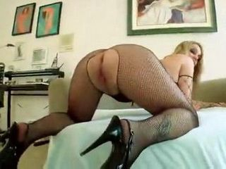Milf Blonde Double Penetratd Through Ripped Off Fishnets