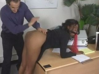 Pissed Off Boss Giving His New Ebony Secretary An Unforgettable Lesson On First Day Her Job