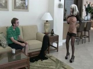 Mature Lady Seduces And Fucks Young Nerd Boy In Her House