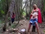 Horny Little Red Riding Hood Pleased In The Woods But She Does Not Know That Evil Wolf Lurking Behind The Tree