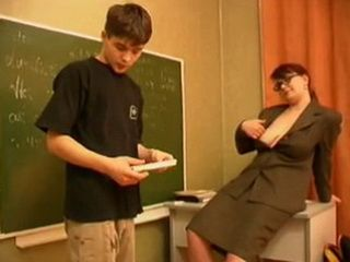 Horny Russian Teacher Decide To Make This Boring Class More Interesting For Shy Young Boy