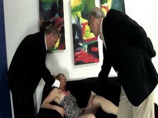 Two Older Gentlemans Having A Wild Sex With Horny Slut