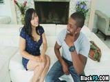 Asian chick Mia Li riding big black cock reverse cowgirl