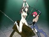 Chained hentai maid gets whipped and hard punishment