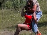 Ebony Jogging Milf Attacked and Brutally Raped In the Field