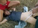 Hitchhiker Woman Gets  Fucked In The Field By 2 Rough Young Guys