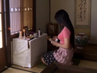 Horny Widow Maki Aoyama Masturbates Her Pussy