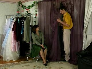 Horny Mature Tailor Fucks Her Young Customer