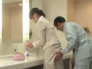 Japanese Receptionist Regrets Entering A Toilet