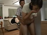Busty Japanese Stepmom Gets Attacked By A Young Boy While His Dad Was Deeply Occupied With His Work In A Living Room