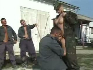 Blonde Officer Taking Advantage Of Several Soldiers For Outdoor Fuck