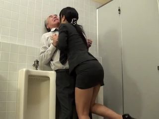 Kinky Japanese Secretary Attacks Her Boss In AMens Toilet In a Company Building