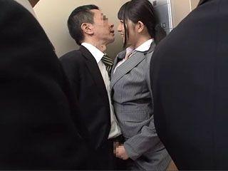 In An Elevator Full Of Peoople Japanese Secretary Ai Uehara Made Her Boss Cum