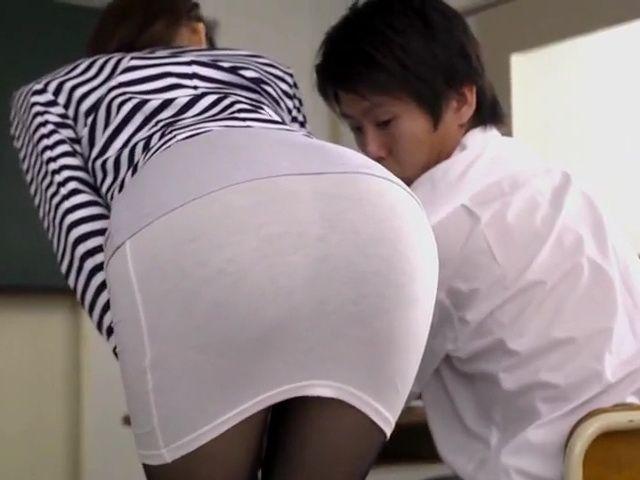 Milf Teacher In Pantyhose Kurea Hasumi Claire Seduces and Fucks Student Boy In Classroom