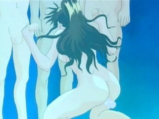 Hentai gets vibrator in her pussy and sucking cocks underwater