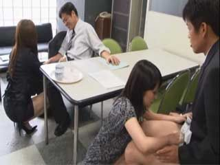 Secretary Arimoto Sayo and Manami Osawa Spill Out Coffee and Excuse Themselves With Handjob And Blowjob