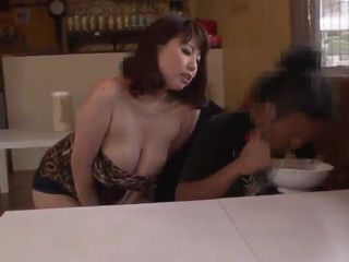 Busty Restaurant Owner Rin Aoki Harass Boy at Lunch